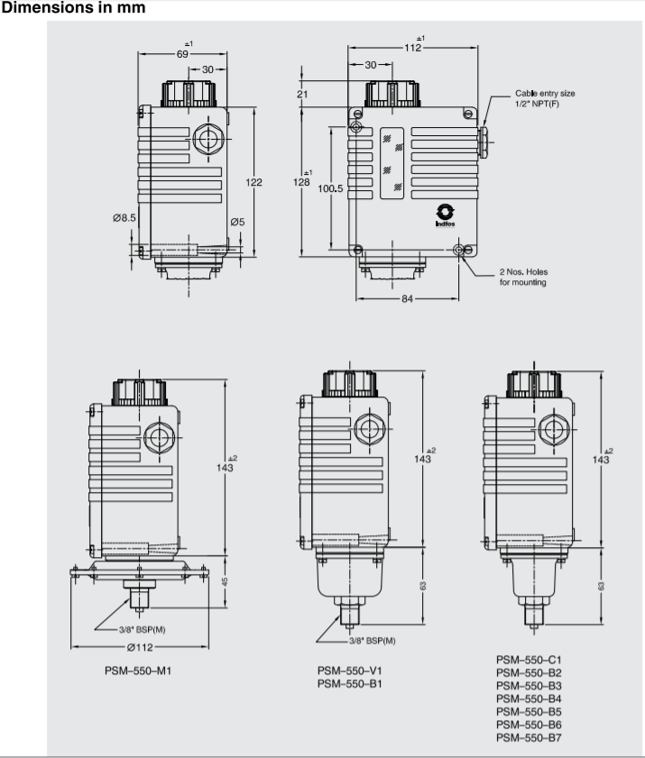Bellow type pressure switch. Model : SWITZER - PSM-550-B1-41-CD ; INDFOS Model : (RT112-SB)