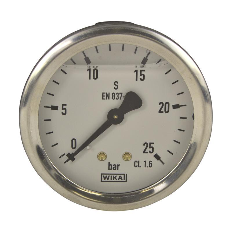 WIKA Pressure Gauge - Model: 213.53.100 | Dial Size: 100mm , Range: 0 - 1 KG/CM, Body: SS , Internals: Brass , Glycerin Filled