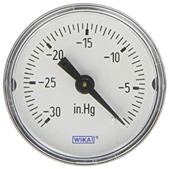 WIKA Vacuum Gauge - Model: 213.53.63 | Dial Size: 63mm , Range: -760 to 0 mmHg , Body: SS , Internals: Brass , Glycerin Filled